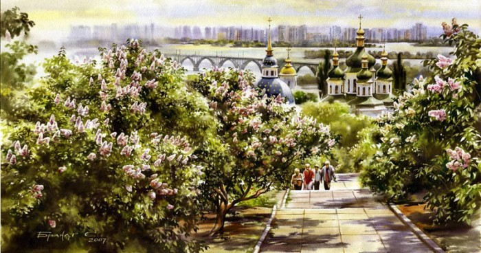 городской пейзаж акварель Сергей Брандт-09