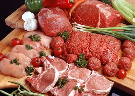 Таблица содержания белка, жира и углеводов в свинине, говядине, диче, телятине, кролике и мясных консервах.