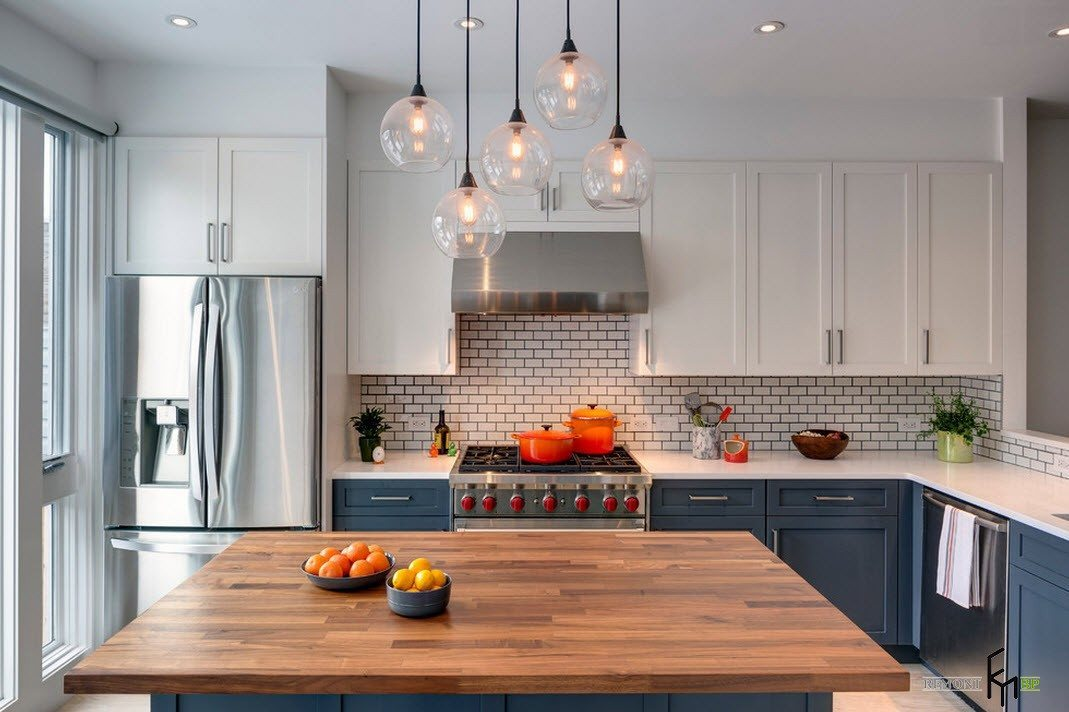 кухня белый верх серый низ фото