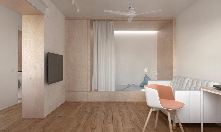 Фотография: Гостиная в стиле Минимализм, Квартира, Проект недели, Хрущевка, 1 комната, до 40 метров, Находка, KDVA Architects – фото на InMyRoom.ru