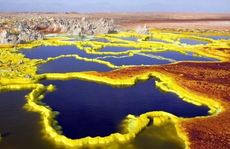 Пустыня Данакиль, кратер Даллол. Границы Эфиопии и Эритреи природа, пустыня