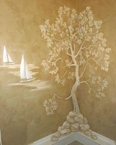 Трехмерная роспись стен гипсовой штукатуркой