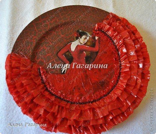 Декор предметов Мастер-класс Декупаж Тарелка Фламенко Бумага фото 25