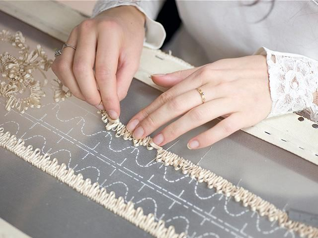 Haute Couture - ribbon embroidery in the making - fashion atelier; fashion design behind the scenes // Lesage:
