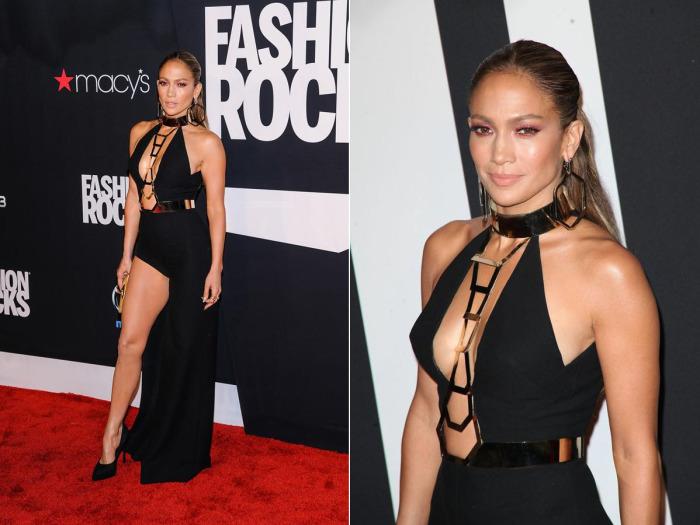 Черное платье от Версаче для вечеринки Fashion Rocks в 2014 году.