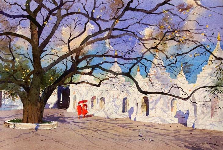 Акварельные картины художник Мьё Вин Онг 15