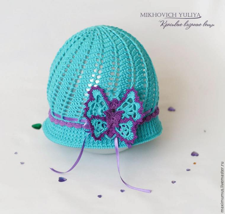 Вязание бабочек на шапочку