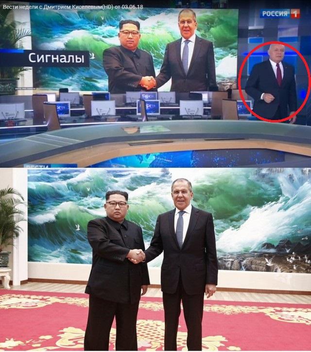 Канал «Россия-1» зачем-то подрисовала Ким Чен Ыну улыбку на фотографии с Лавровым