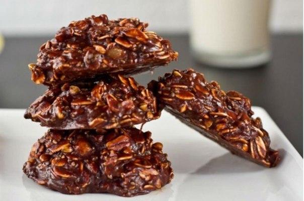Овсяное шоколадное печенье без выпекания