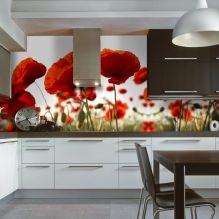 Идеи интерьера кухни с фотообоями-6