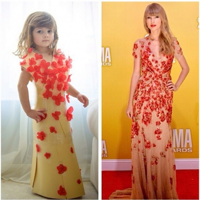 4-летняя девочка исключительно талантливо воссоздала наряды знаменитостей из подручных средств