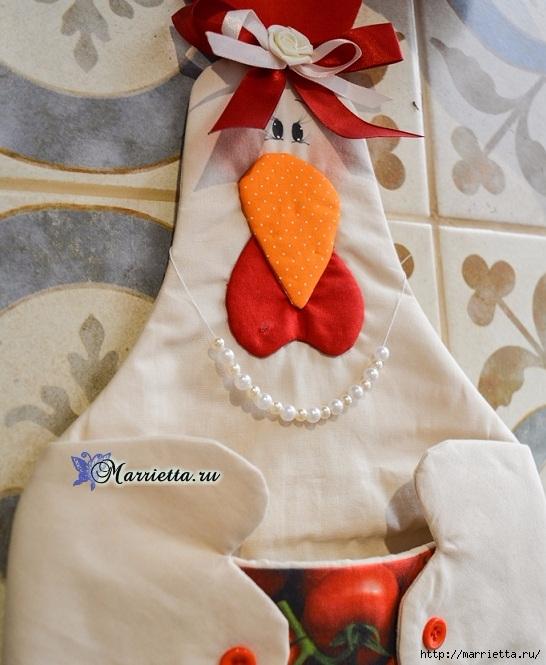 Текстильное панно «Мадам Курочка»