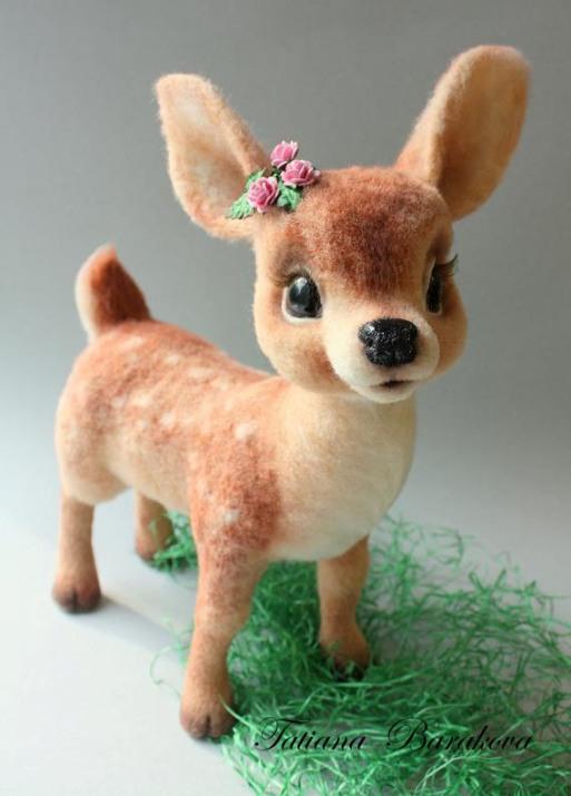 Войлочные игрушки - олененок. Фото