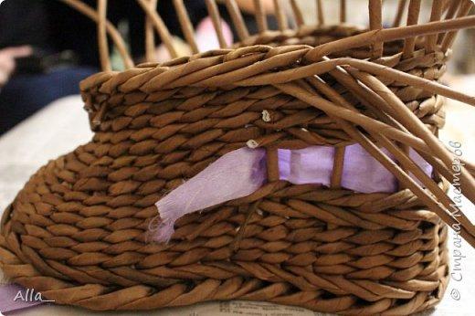 Мастер-класс Поделка изделие Плетение Как я делаю башмак Трубочки бумажные фото 13