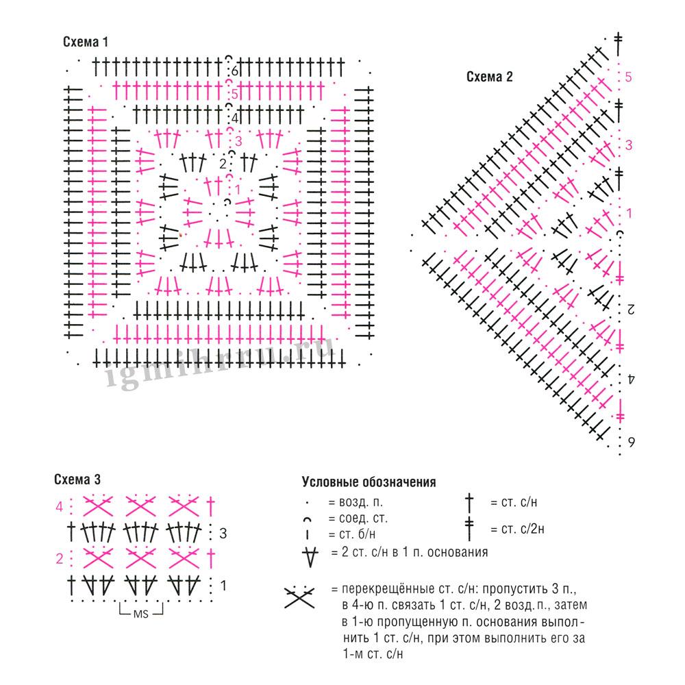 Вязание крючком бабушкин квадрат модели и схемы yf dtnyfvcrgv zpsrty 93