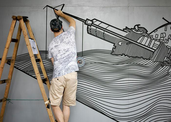 Изолента вместо краски. Прекрасный стрит-арт из подручных материалов