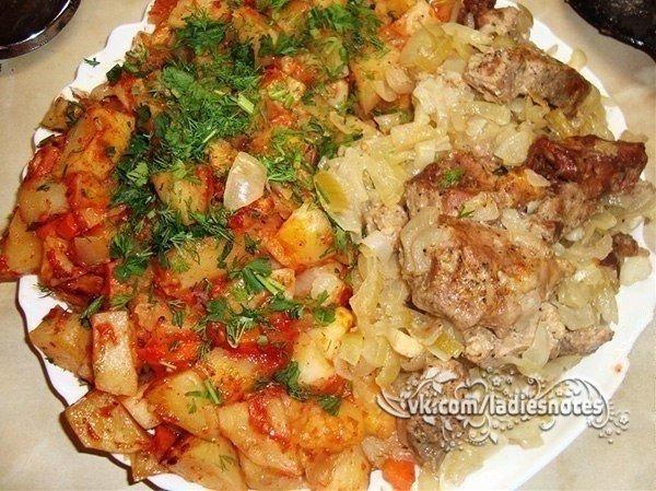 """""""Шашлык"""" с наивкуснейшей картошечкой, приготовленные в духовке."""
