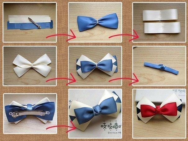 Как сделать бантик из ленточки для волос