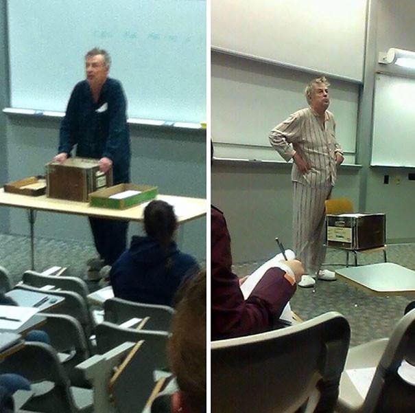 1. Учитель пришел в школу в пижаме в знак протеста против начала экзаменов в 7 часов утра.  подборка, учитель, юмор