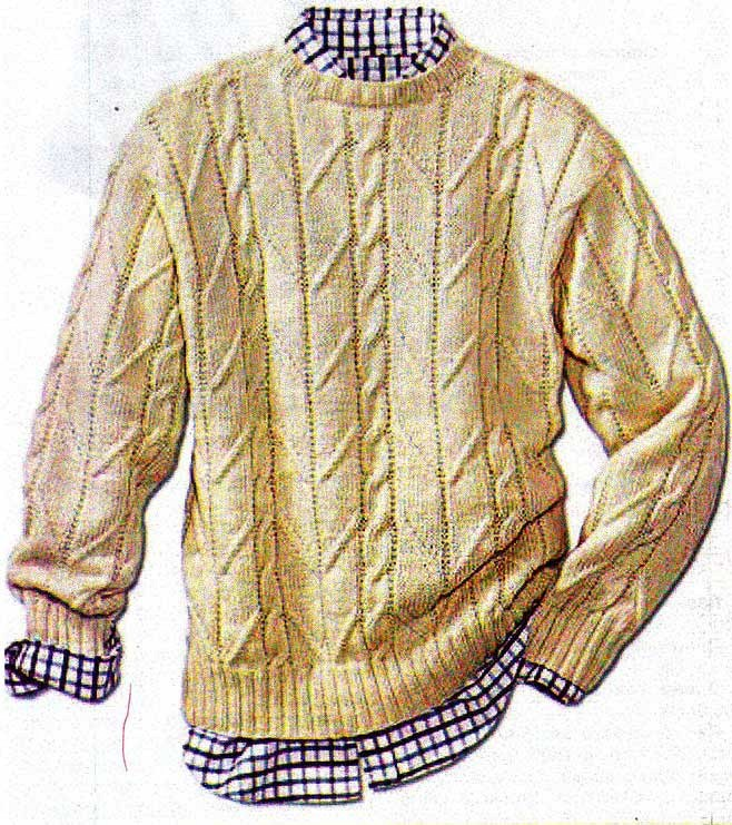 Мужской свитер спицами рельефным узором