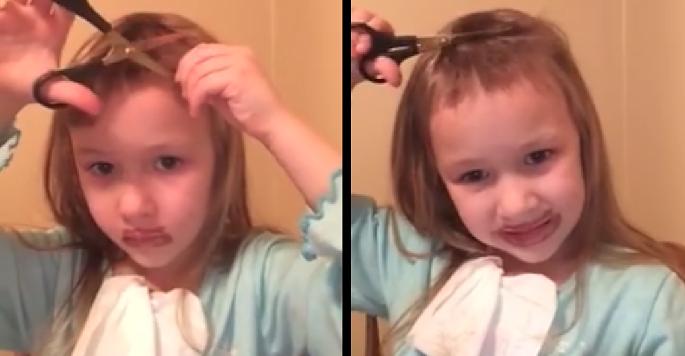 Пытаясь отснять клип, похожий на клипы бьюти-блогеров, девочка отрезала себе чёлку