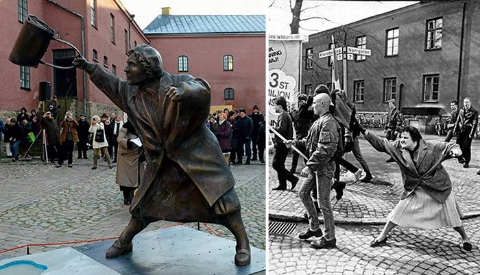История шведского памятника «Женщина с сумкой»