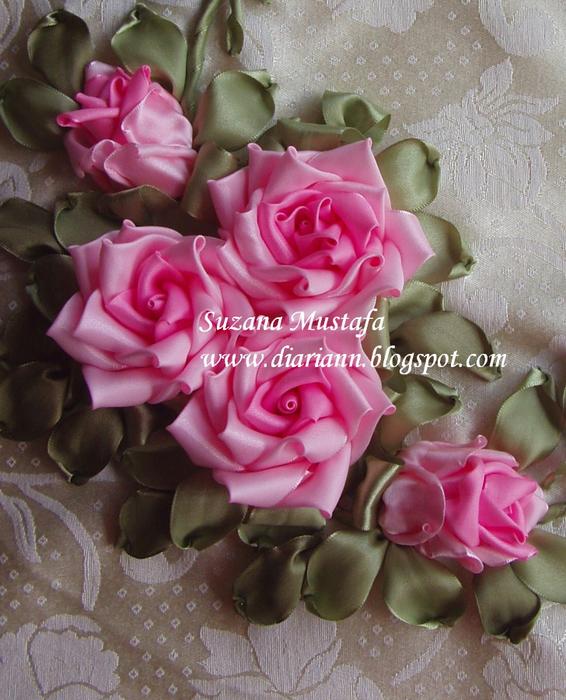 вышивка лентами розы - Самое