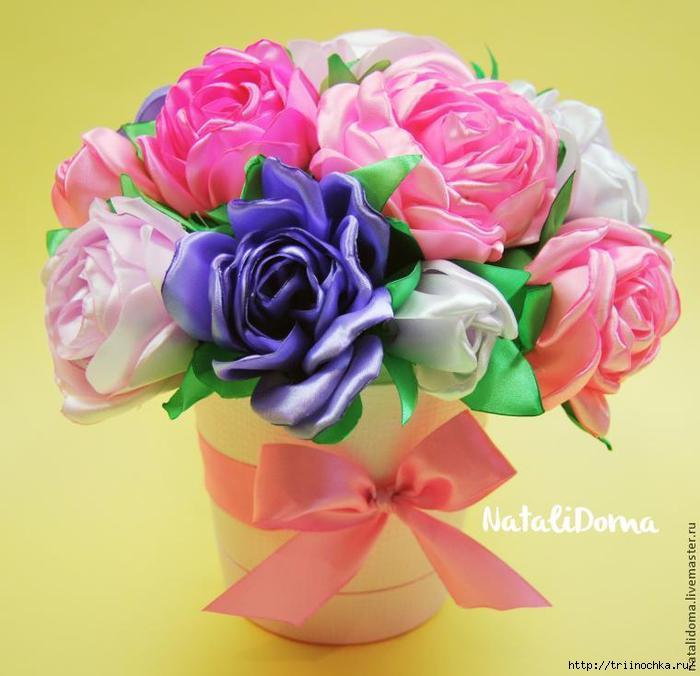 Как сделать букет из белых и красных роз