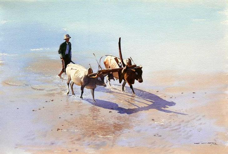 Акварельные картины художник Мьё Вин Онг 16