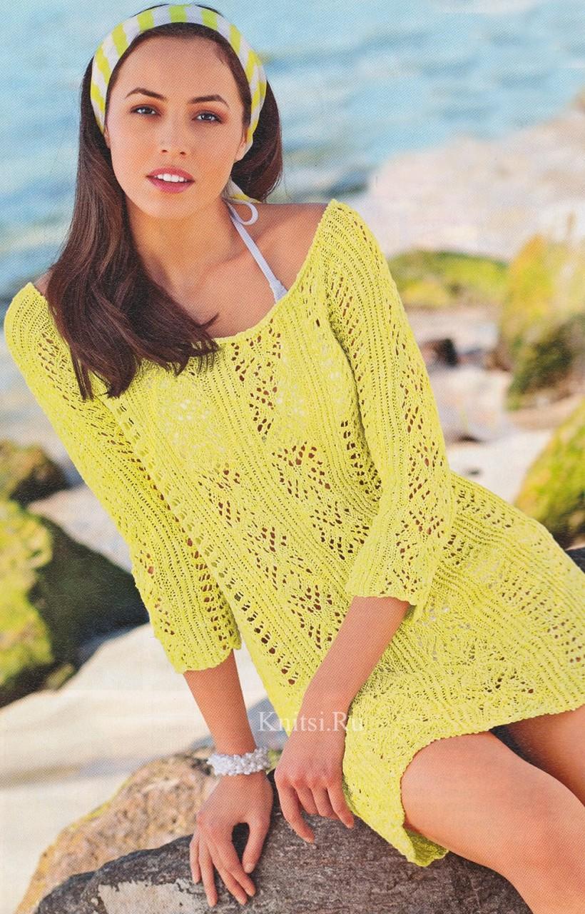 Длинный ажурный пуловер спицами