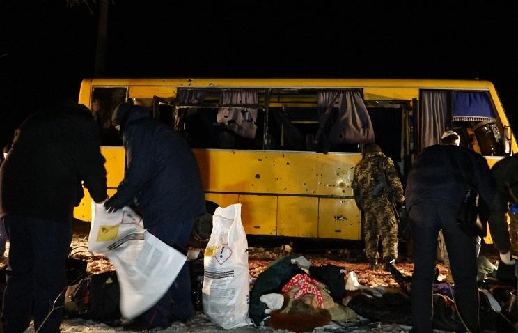 ТАСС: Отчет ОБСЕ: автобус под Волновахой был поврежден осколками ракетного снаряда