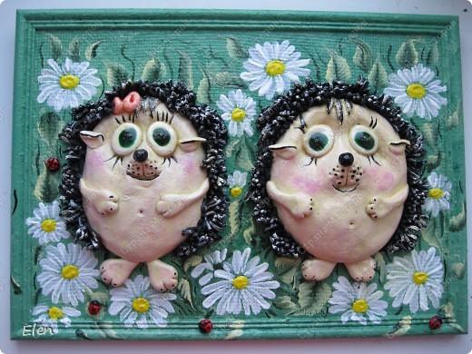 Картина, рисунок, панно Лепка: Ежики в ромашках Тесто соленое