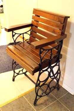 Treadle Sewing Machine Base Repurposed Chair. Awesome!!! I have bases. Now i know why i still have them!!!