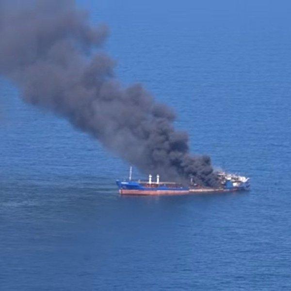 пожар на судне в каспии России Guahoo появилась