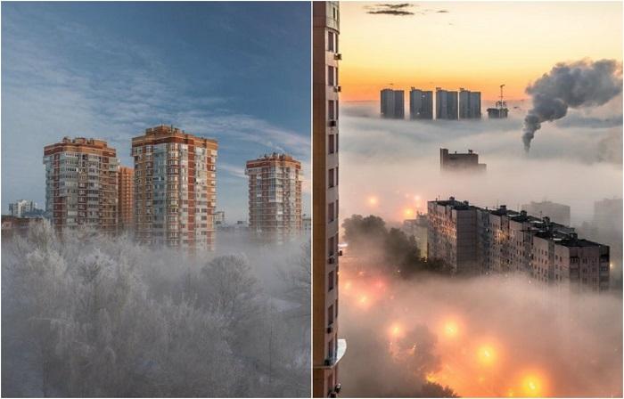 «Там за туманами»: Таинственные пейзажные фотографии городов и деревень