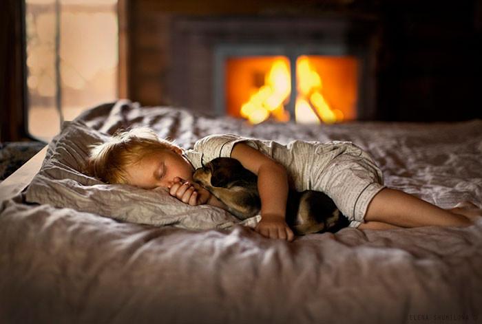 Спящие малыши  дружба, ребенок, собака
