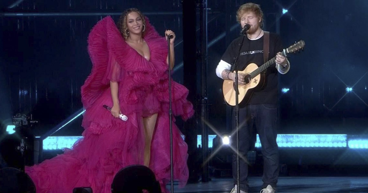 Woman Calls Out The Way Ed Sheeran Dressed Next To Beyonce, Gets Destroyed On Twitter