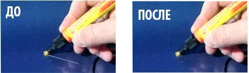 маскировка царапин карандашом