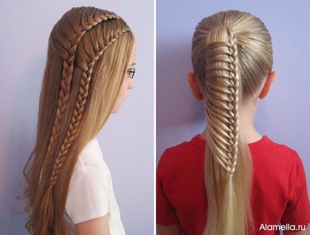 Прическа на длинных волосах для девочки