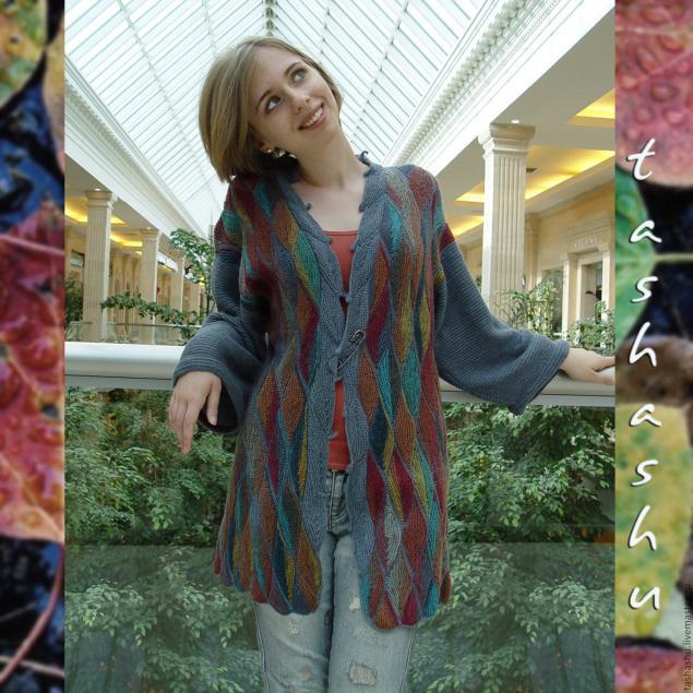 """Вязаный узор """"Осенние листья"""" - пошаговое описание"""