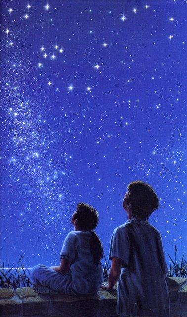 Человек смотрит на звёзды рисунок