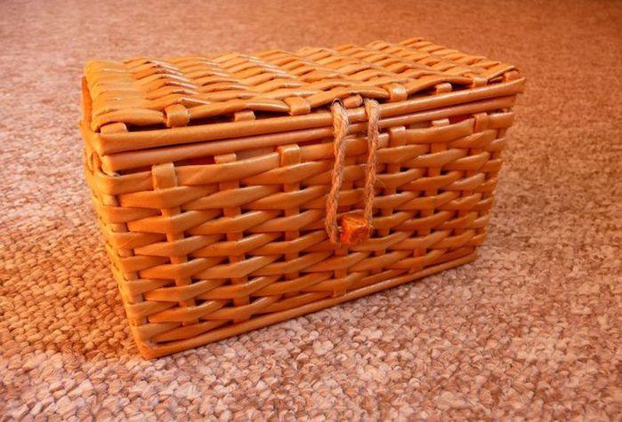 Коробка декорированная тканью
