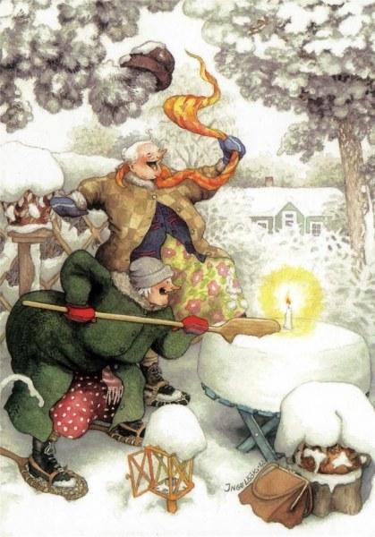 Как две добродушные старушки отмечали Новый год. 13 иллюстраций от Инге Лёёк