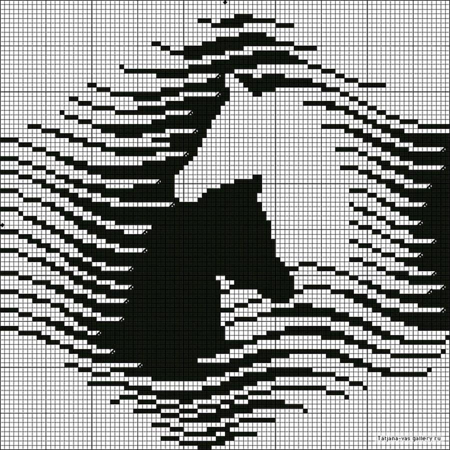 Схемы вышивка крестом монохром лошади