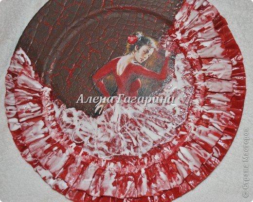 Декор предметов Мастер-класс Декупаж Тарелка Фламенко Бумага фото 24