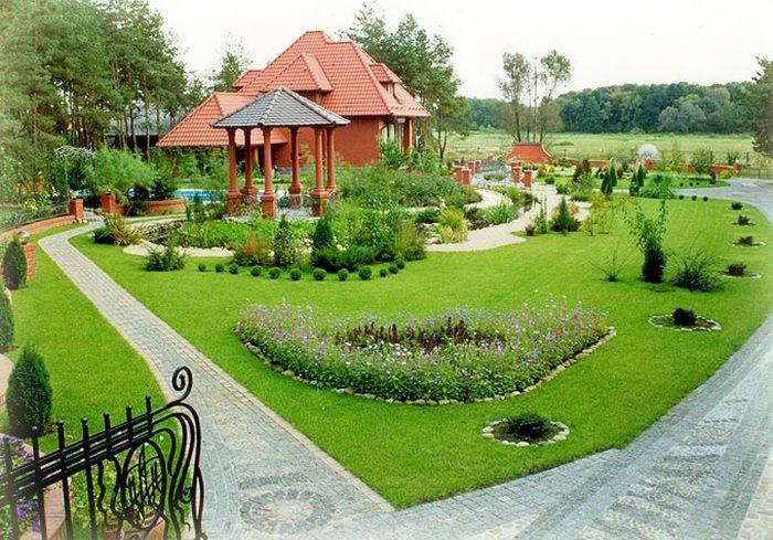Ландшафтный дизайн двора частного дома фото поделки 56