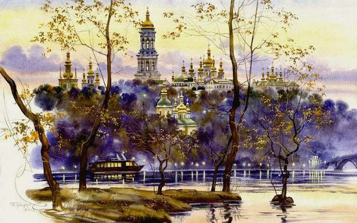 городской пейзаж акварель Сергей Брандт-08