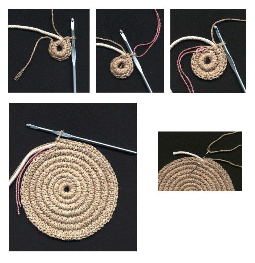 В этой записи подробно описано, как связать укрепленное шнуром донышко для сумки.