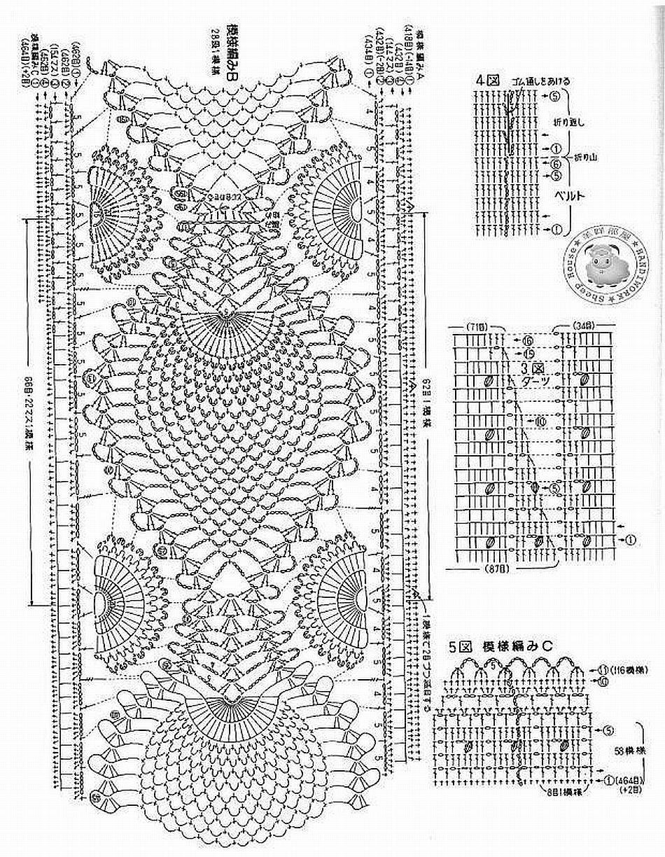 Кайма из животных крючком схемы из японских журналов блог