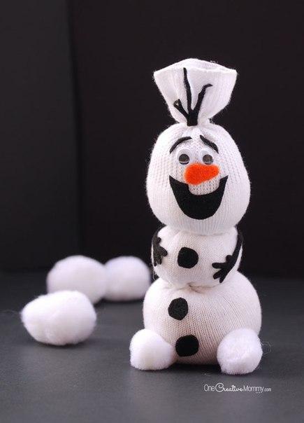 Снеговик из носка. Мастер-класс